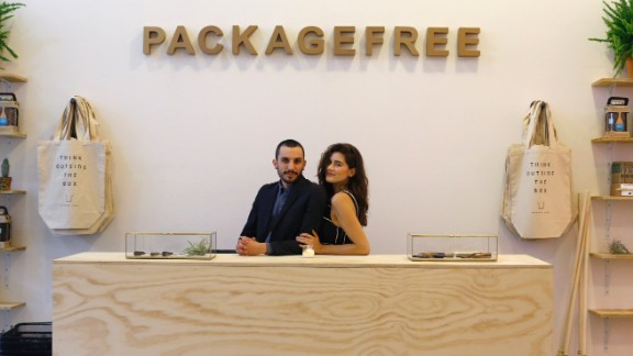 Lauren Singer and Daniel Silverstein founded Package Free, a shop online and in New York that sells sustainable products.