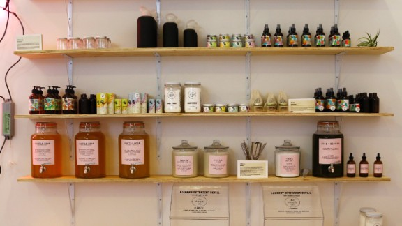 Bottles and jars line shelves at Package Free, a New York store that aims to reduce package waste and sell sustainable products.