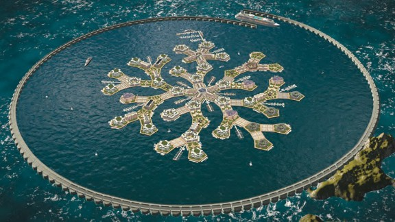 A modular wavebreaker shelters Artisanopolis, a model seastead, in shallow coastal waters. Greenhouse domes will provide locally grown food. Courtesy of Gabriel Scheare, Chile.