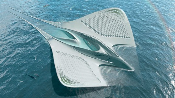 Seasteads 3D-printed on the ocean will not resemble skyscrapers rooted in bedrock. The City of Meriens follows the form and function of a manta ray. © Jacques Rougerie Architecte, France.