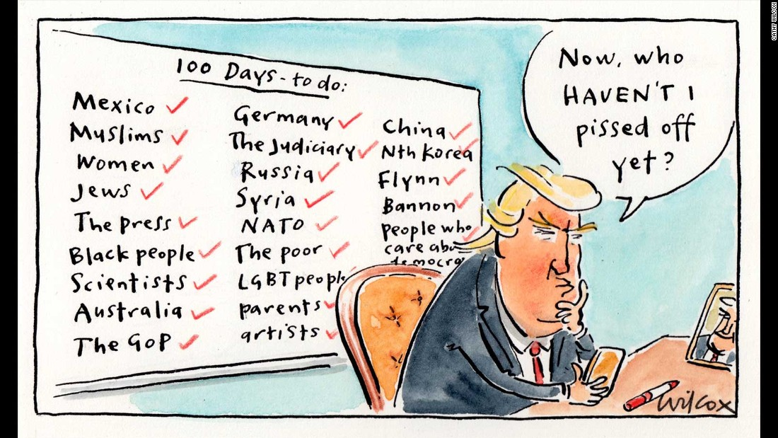 Trump At 100 Days Cartoon Views From Around The World