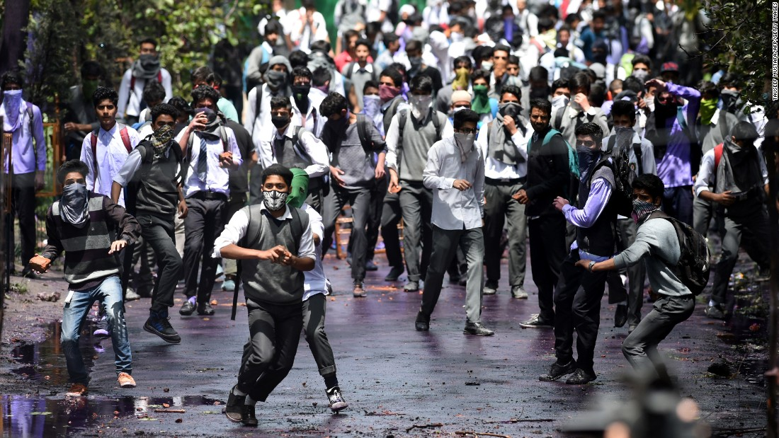 "Kashmiri students clash with Indian government forces in Srinagar, India, on Monday, April 24. Hundreds of student protesters shouted ""we want freedom"" and ""go India, go back."" <a href=""http://www.cnn.com/2016/09/30/asia/kashmir-explainer/"" target=""_blank"">Read more: The Kashmir dispute explained</a>"