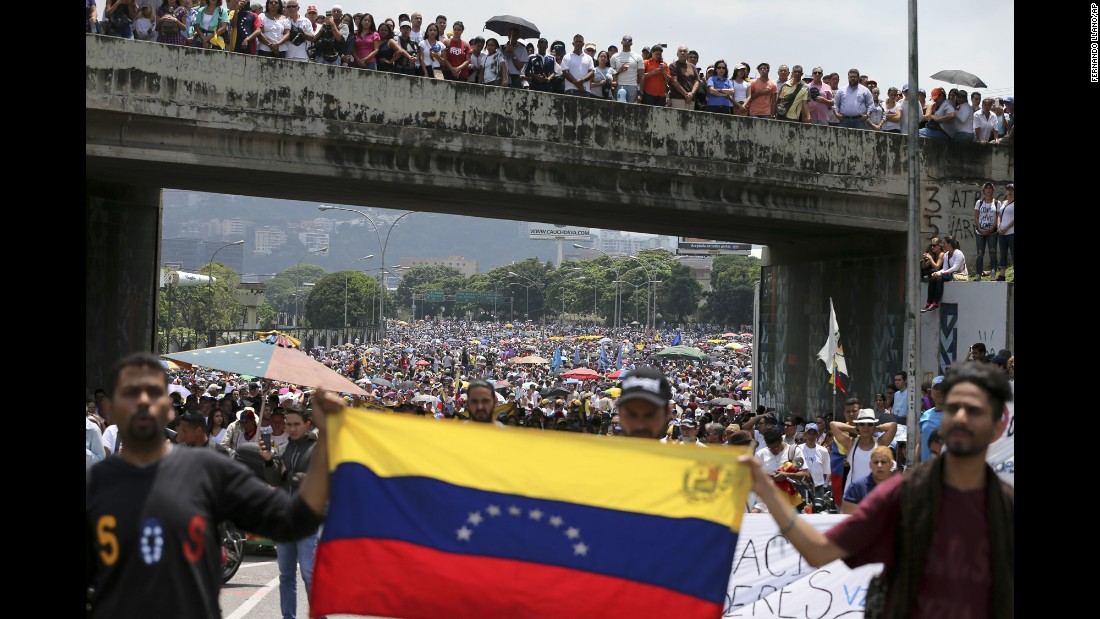 "Anti-government protesters block a highway in Caracas, Venezuela, on Monday, April 24. Opponents of President Nicolas Maduro shut down main roads across the country as the protest movement entered its fourth week. <a href=""http://www.cnn.com/2017/04/18/americas/venezuela-protest-explainer/"" target=""_blank"">Venezuela's protests: What you need to know</a>"