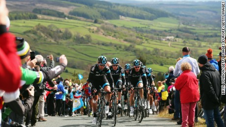 SCARBOROUGH, ENGLAND - MAY 01:  Nathan Earle of Australia and Team SKY leads the peloton during stage one of the Tour de Yorkshire from Bridlington to Scarborough on May 1, 2015 in Scarborough, England.  (Photo by Bryn Lennon/Getty Images)