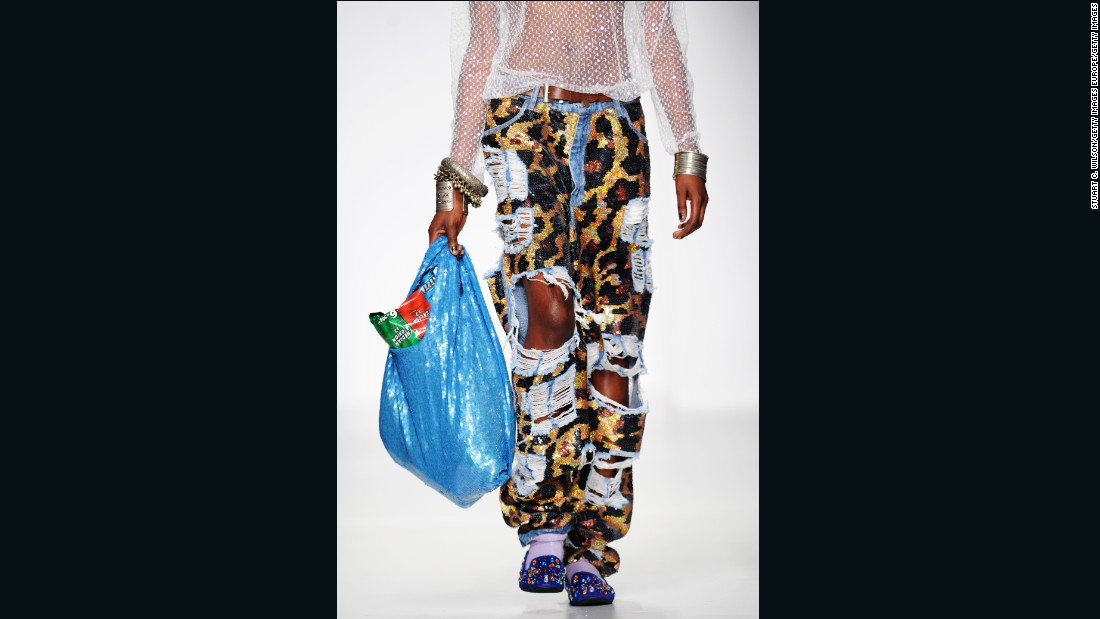 London designer Ashish showed eye-catching sequined bags modeled after plastic grocery bags.