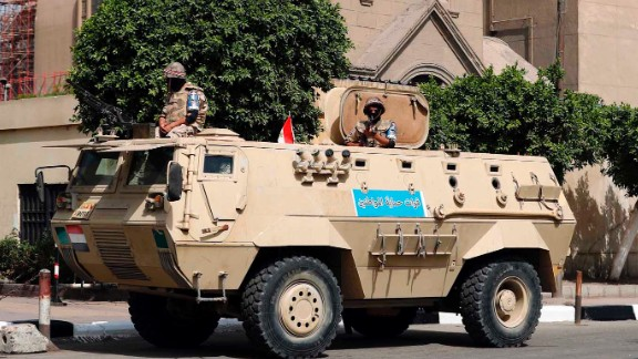 An Egyptian army vehicle is stationed outside of St. Mark
