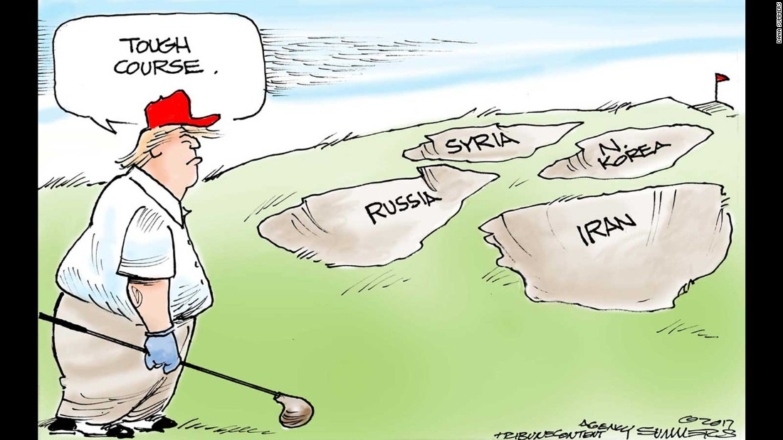 Trump at 100 days: Cartoon views from around the world