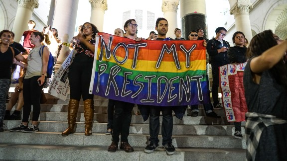 Protesters demonstrate the day after US President Donald Trump's victory in the 2016 election.