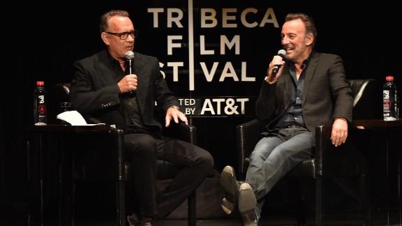 Tom Hanks and Bruce Springsteen speak on stage during Tribeca Talks.