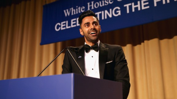 Minhaj speaks on stage during 2017 White House Correspondents' Association Dinner in 2017.