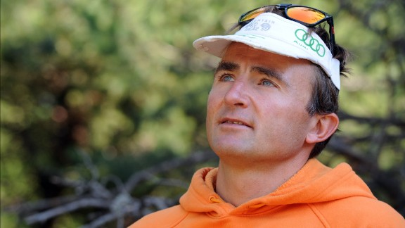 Swiss climber Ueli Steck poses in Sigoyer, in the Hautes-Alpes department of southeastern France, on August 13, 2015.