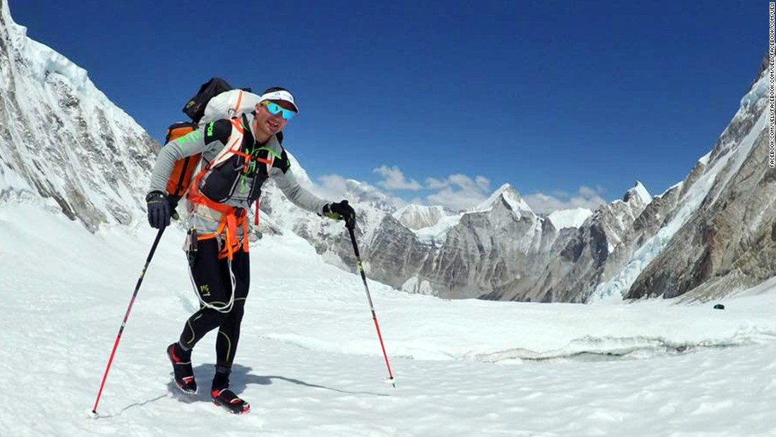 Steck on April 24 in the Himalayas prepares himself for an ascent of Mount Everest.