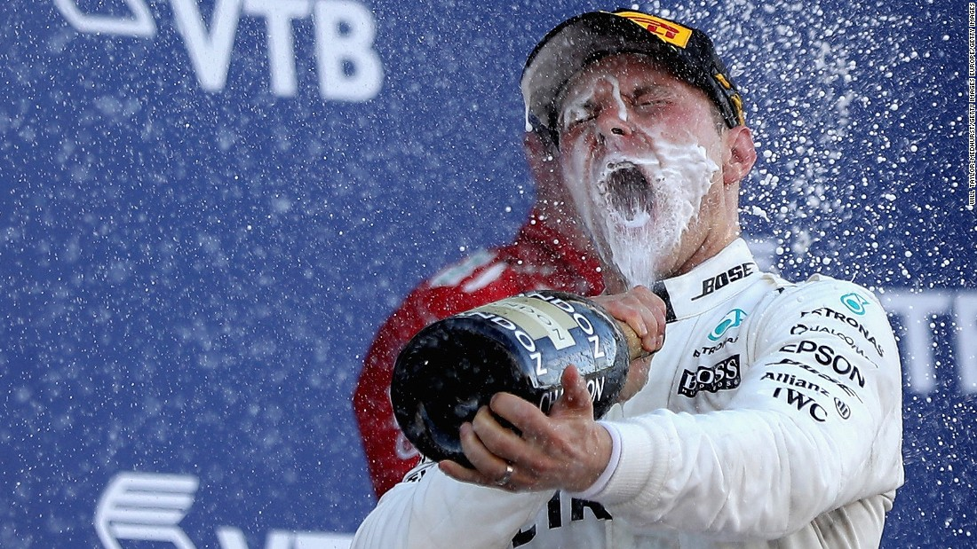 Champagne moment: Bottas won his first F1 race at the Russian Grand Prix.