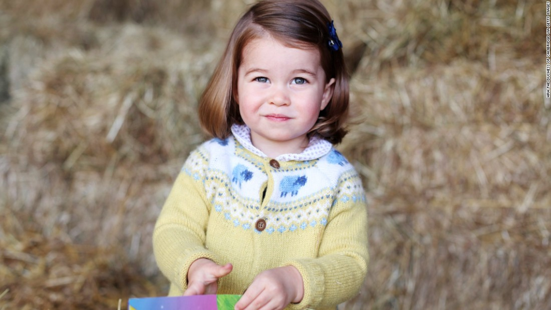 Charlotte is pictured at home in April 2017 in Norfolk, England. The photograph was taken by her mother, Catherine, to mark the Princess' second birthday.