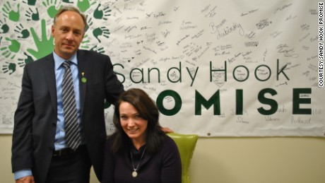 Nicole Hockley, right, and Mark Barden founded Sandy Hook Promise after their sons were killed in the 2012 Sandy Hook shootings.
