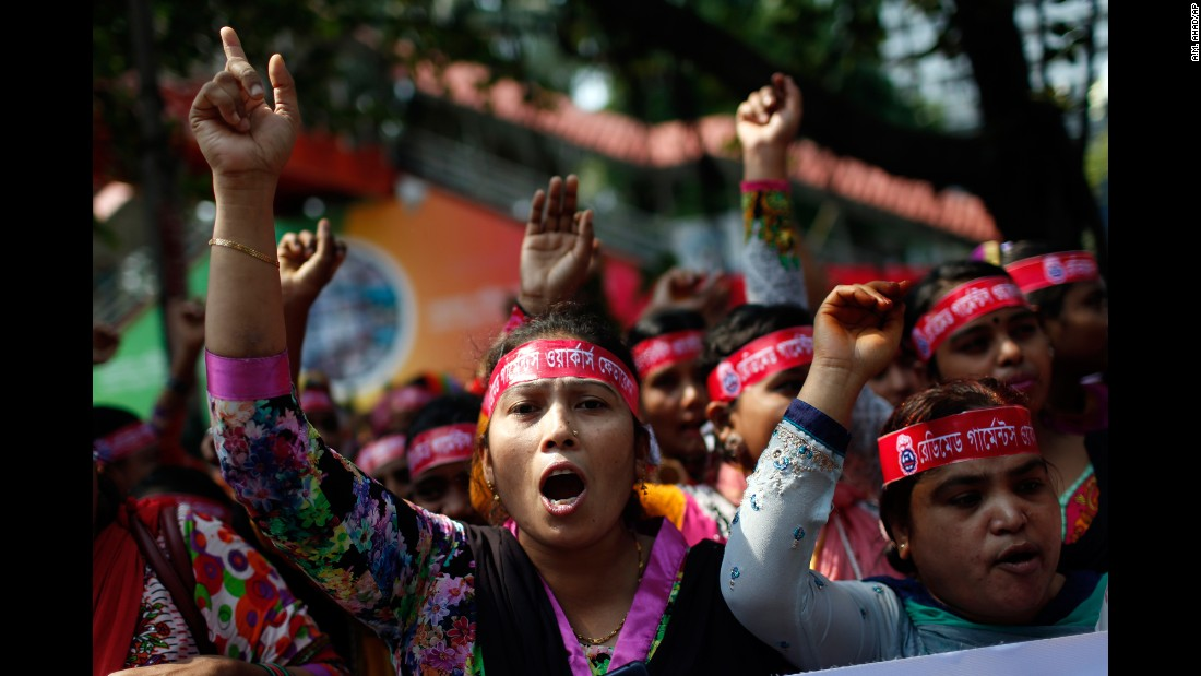 Garment workers shout slogans as they participate in a May Day rally in Dhaka, Bangladesh.