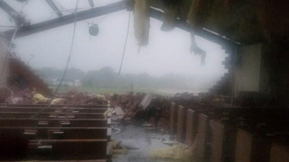 The tornado destruction inside St. John the Evangelist Catholic Church in Emory.