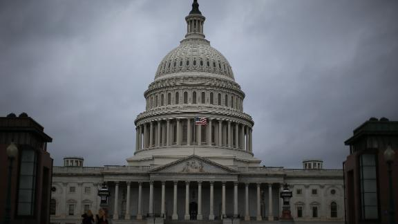 WASHINGTON, DC - OCTOBER 07: Clouds fill the sky in front of the U.S. Capitol on October 7, 2013 in Washington, DC. Democrats and Republicans are still at a stalemate on funding for the federal government as the shut down goes into the seventh day.  (Photo by Mark Wilson/Getty Images)