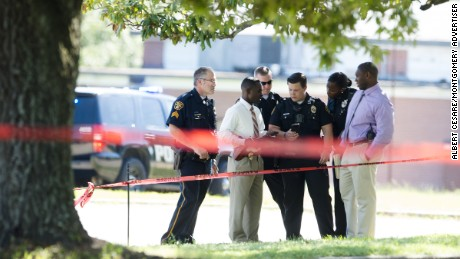 Montgomery Police investigate the shooting death of a 14-year-old Bellingrath Middle School student on Monday.