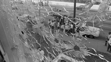 The bullet-riddled windows of Alexander Hall, a women's dormitory at Jackson State College in Jackson, Miss., are shown after two African-American students were killed and 12 injured when police opened fire on the building claiming they were fired upon by snipers, May 15, 1970. The shooting occurred after rioting broke out on the campus. (AP Photo)
