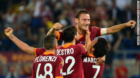 AS Roma forward Francesco Totti (center) -- now in his 25th season -- is still playing at a high level at age 40.
