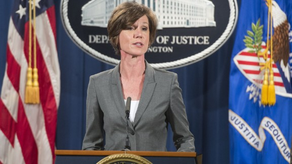 Deputy Attorney General Sally Yates speaks during a press conference to announce environmental and consumer relief in the Volkswagen litigation at the Department of Justice in Washington, DC, June 28, 2016. Volkswagen has agreed to pay out $14.7 billion in a settlement with US authorities and car owners over its emissions-cheating diesel-powered cars, court documents showed June 28, 2016. The settlement filed in federal court calls for the German auto giant to either buy back or fix the cars that tricked pollution tests, and to pay each owner up to $10,000 in cash.  / AFP / SAUL LOEB        (Photo credit should read SAUL LOEB/AFP/Getty Images)