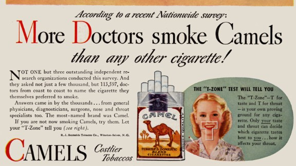 "By today's standards, the ads were shocking. In one ad, a ""doctor"" describes how a little girl could live to 100 -- years longer than her mother -- while promoting the virtues of smoking.  ""The none-too-subtle message was that if the doctor, with all of his expertise, chose to smoke a particular brand, then it must be safe,"" SRITA said. Tobacco ads using images of health professionals like doctors, nurses and dentists ran from about 1935 through the early '60s."