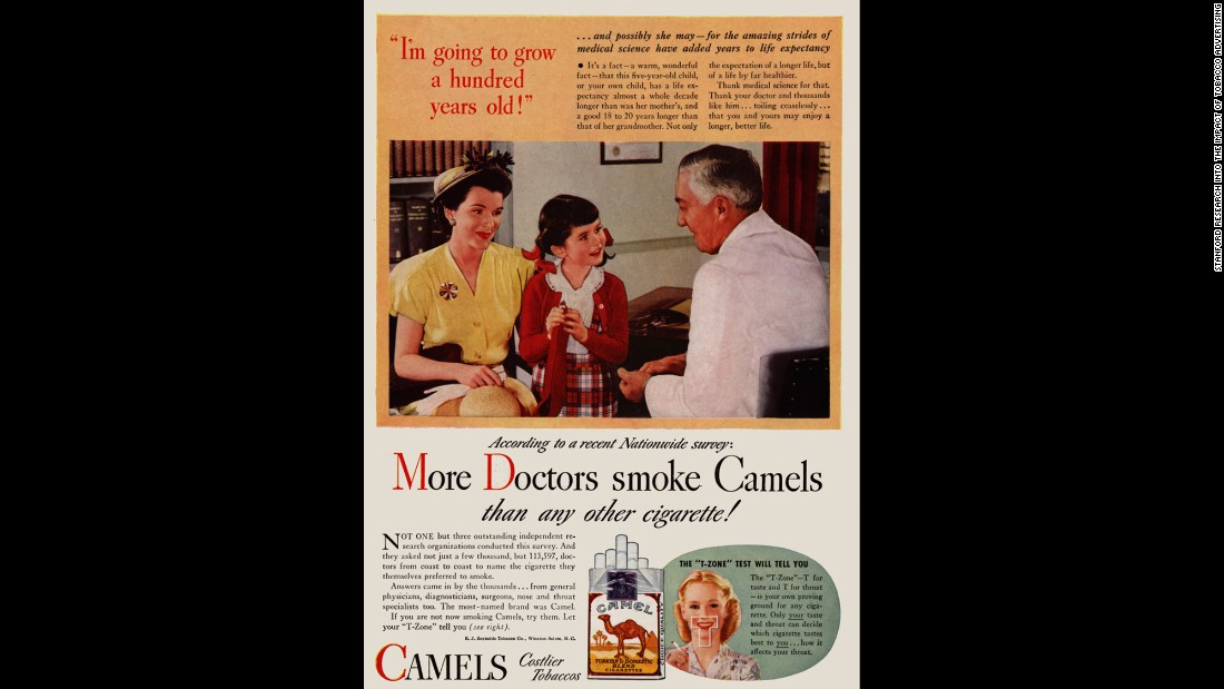 "By today's standards, the ads were shocking. In one ad, a ""doctor"" describes how a little girl could live to 100 -- years longer than her mother -- while promoting the virtues of smoking.<br /><br />""The none-too-subtle message was that if the doctor, with all of his expertise, chose to smoke a particular brand, then it must be safe,"" SRITA said. Tobacco ads using images of health professionals like doctors, nurses and dentists ran from about 1935 through the early '60s."