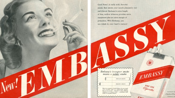 "This ad claims that the longer length of the cigarette reduces health dangers since it would take more time for the smoke to reach the smoker's lungs, allowing more filtering of toxins.  ""In 1950, the Federal Trade Commission (FTC) investigators had decided that king-size cigarettes, like Embassy, contained 'more tobacco and therefore more harmful substances' than are found in an ordinary cigarette,"" SRITA said."