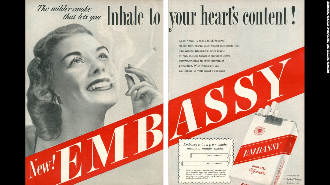 "This ad claims that the longer length of the cigarette reduces health dangers since it would take more time for the smoke to reach the smoker's lungs, allowing more filtering of toxins.<br /><br />""In 1950, the Federal Trade Commission (FTC) investigators had decided that king-size cigarettes, like Embassy, contained 'more tobacco and therefore more harmful substances' than are found in an ordinary cigarette,"" SRITA said."