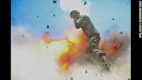 This photograph, taken July 2, 2013, shows the moment of the explosion that killed 5 soldiers.