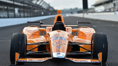 The McLaren-Honda Andretti car that Fernando Alonso will drive at Indianapolis on May 28.