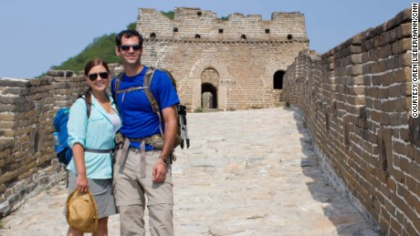 Oren Liebermann and Cassandra Kramer on the Great Wall of China.