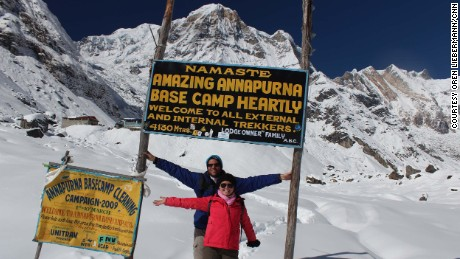 Oren Liebermann and his wife, Cassandra Kramer, at Annapurna Base Camp in Nepal.