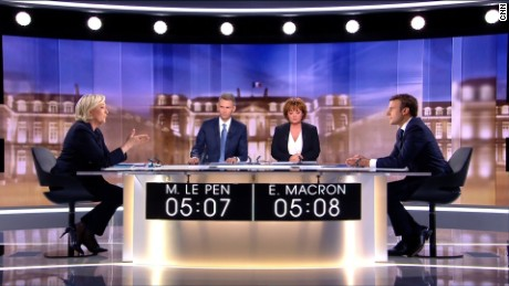 Marine Le Pen and Emmanuel Macron go head-to-head on French TV.