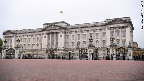 Barricades protect Buckingham Palace in London.