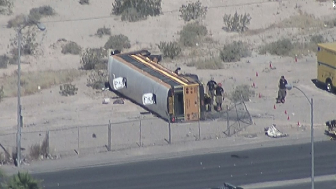 Las Vegas school bus crash leaves 16 students hurt, car driver dead