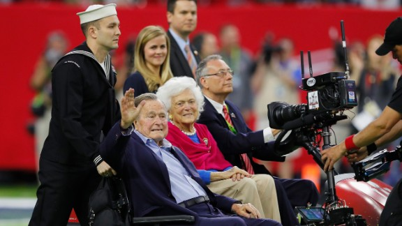 George H.W. Bush, born 1924: Bush was the 41st president of the United States, from 1989 to 1993. The Texas native and football fan rebounded from a case of pneumonia and joined his wife, Barbara Bush, for the coin toss at the Super Bowl in 2017.