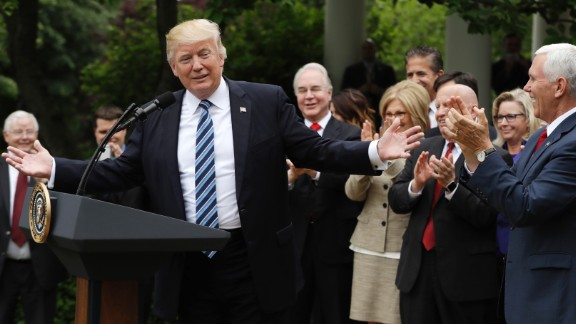 President Donald Trump speaks  in the Rose Garden of the White House in Washington, Thursday, May 4, 2017, after the House pushed through a health care bill. (AP Photo/Evan Vucci)