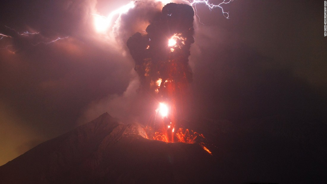 Lightning strikes over Mount Sakurajima as the volcano erupts in Tarumizu, Japan, on Tuesday, May 2.