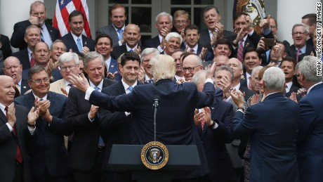 This is the photo that inspired social media outrage.  President Donald Trump congratulates House Republicans at a recent White House event after they passed a bill aimed at  replacing ObamaCare. Critics said the image of all white men making decisions for the rest of America looked outdated and tone-deaf.