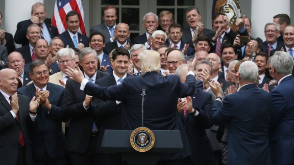 This photo of the president congratulating House Republicans after passage of a bill to replace ObamaCare sparked outrage. Critics said the image looked outdated and tone deaf.