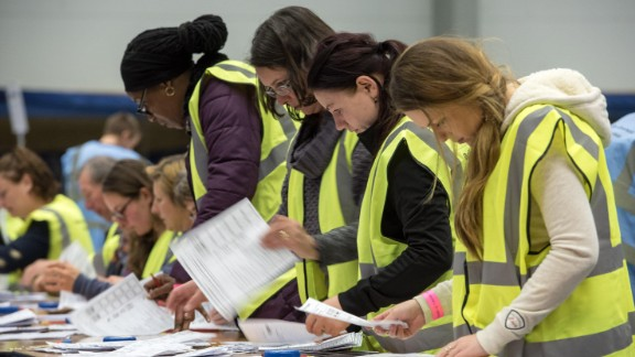 Ballots are counted at the Election Count at City Academy Bristol for the West of England Combined Authority Mayoral election 2017.