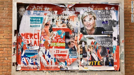 Election posters in Calais.