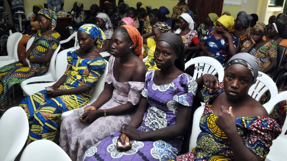 Chibok school girls recently freed from Boko Haram captivity are seen in Abuja, Nigeria, Sunday, May 7, The 82 freed Chibok schoolgirls arrived in Nigeria