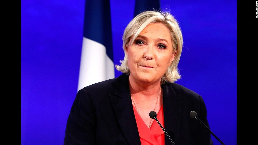 Marine Le Pen, candidate of the far-right Front National party,  delivers a speech in Paris on May 7 after losing to Macron.