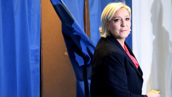 Marine Le Pen at a polling station in northwestern France on May 7, 2017.