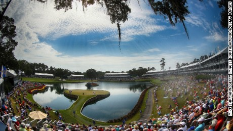 The Stadium course's 17th green is one of golf's most iconic par threes.