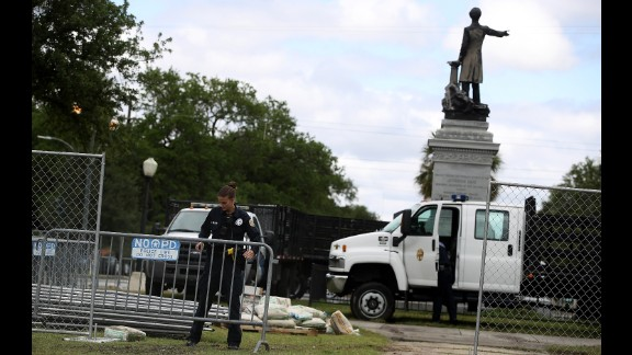 Barricades go up as the removal of a Jefferson Davis begins in May in New Orleans.