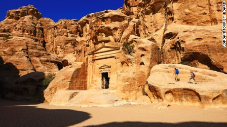 Hikers at rock-church in Little Petra, Jordan, Middle East, Orient